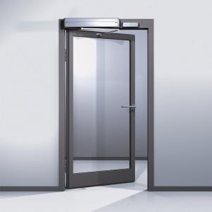Edoors Produkte – Feststellanlagen, Tür halb geöffnet