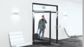 Edoors Produkte – Feststellanlagen, Tür halb offen