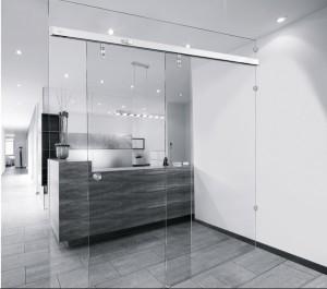 Edoors Produkte – Schiebetüranlagen, Glastür mit Metallaufhängung
